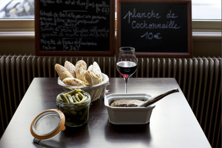 Chicken pâté with pickles and Espelette chilli pepper at La Régalade Saint-Honoré. Photo: William Daniels for WSJ