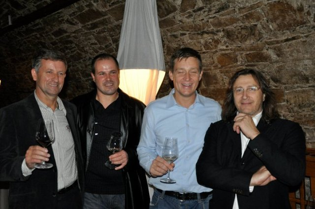 Winemaker Zmago Petrič with two restauraters (Grad Kronberg, Pršutarna Kobjeglava) and Paolo Ianna (Ein Prosit)