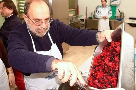 A student learning to make gelato at Carpigiani Gelato University.