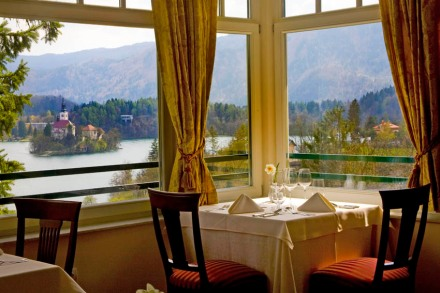 Restaurant of the Triglav Hotel offers a stunning view at the Lake Bled