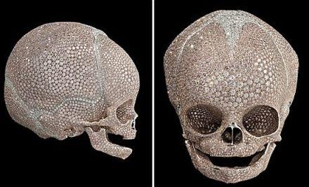 Damien Hirst: For Heaven's Sake, 2008, Platinum, pink and white diamonds 85 x 85 x 100