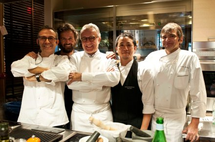 Massimo Bottura, Carlo Cracco, Alain Ducasse, Yoji Tokuyoshi (sous chef of Bottura), Sylvain Portay (executive chef of Adour at St. Regis in New York)