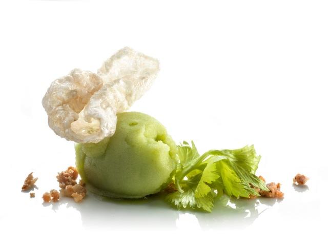 Celery ice cream with crispy pork belly (chef Dino Galvagno)