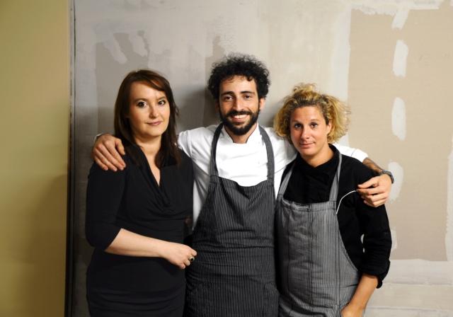Organiser Andreja lajh with chefs Franco Aliberti and Ana Roš. Photo: Laura Lajh Prijatelj.