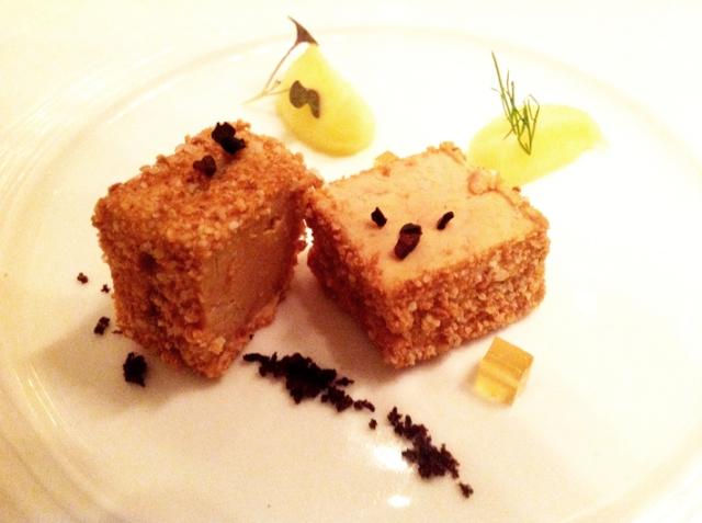 Foie gras terrine with smoked apple and amaretti was served with Muffato 2007, Castello della Sala
