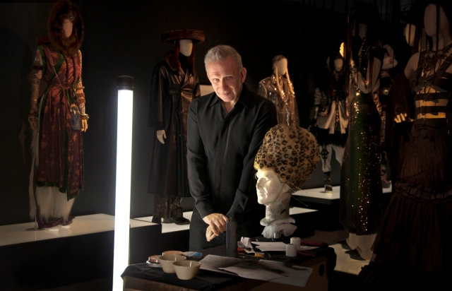 Jean Paul Gaultier during the preparation of the exhibition. Barbican 5th April 2014 (Photo: Laura Lajh Prijatelj)