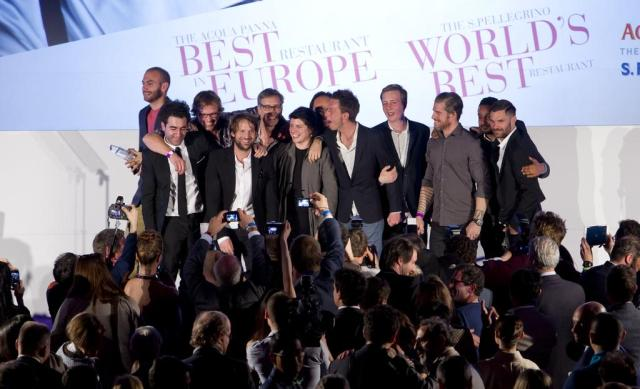 Rene Redzepi celebrating the first place with his team