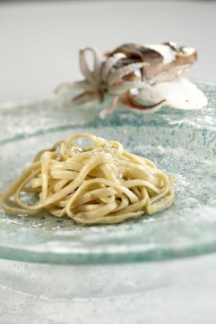 Linguine with octopus liver