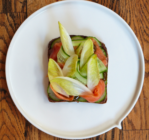 Smoked rye bread, smoked salmon, chicory leaves & cucumber shaves
